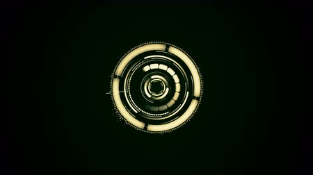 Abstract futuristic motion graphics circular clockwork mechanism assembles, rotates, turns on with glow. Digital isolated design background element. Technology mechanism activation concept 3D render