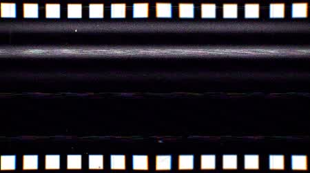 Vintage VHS film strip seamless loop. Old reel overlay with dirt, defects, noise, scratches, camera roll burns, grain and dust. Set TV tape glitch effect looping 4K 3D render on black background