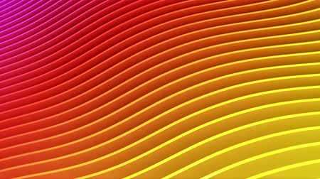 Rows of colorful red and yellow stripes waving and swaying seamless loop. Geometric abstract background with bright rainbow strips rippling 3D animation. Vibrant looping motion graphics backdrop in 4k