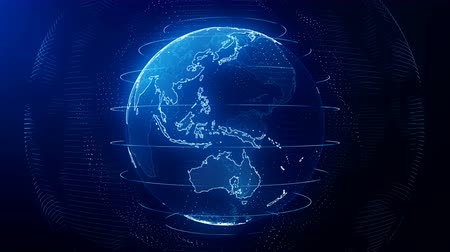 Futuristic blue digital Earth seamless loop. Global data network around planet in modern age. Worldwide internet and blockchain. Technology, connectivity, science and business concept 3D animation
