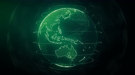 Futuristic green digital Earth seamless loop. Global data network around planet in modern age. Worldwide internet and blockchain. Technology, connectivity, science and business concept 3D animation