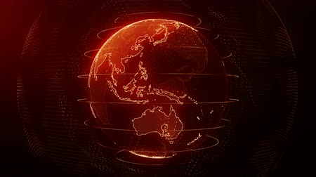 Futuristic red digital Earth seamless loop. Global data network around planet in modern age. Worldwide internet and blockchain. Technology, connectivity, science and business concept 3D animation