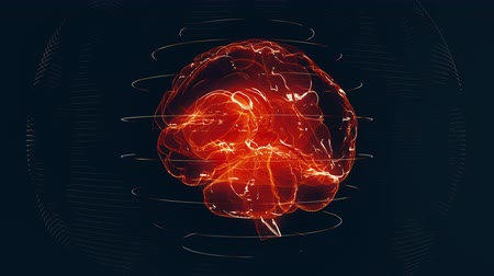 Futuristic red digital brain seamless loop. Neurons firing in MRI scan of artificial intelligence neural network. Medical research of brain activity. Deep learning, AI and modern technology 3D render