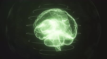 Futuristic green digital brain seamless loop. Neurons firing in MRI scan of artificial intelligence neural network. Medical research of brain activity. Deep learning AI and modern technology 3D render
