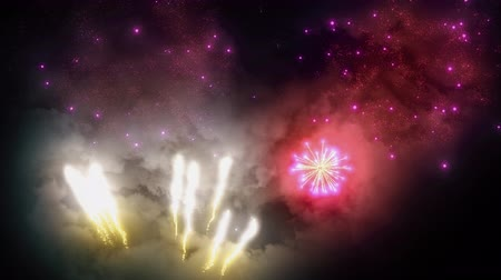 firecracker : Festive bright fireworks in the night sky seamless loop. Shining golden lights and explosions on new year, christmas or independence day celebration show. Bright particles on black 3D render.