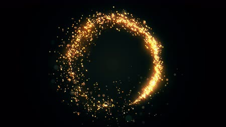 Golden glitter circle with sparkling light. Shining Christmas gold particles and sparkles ring on black background. Luxury magic festive effect with bokeh and glow. Dust trail 3d render in Ultra HD 4K Dostupné videozáznamy