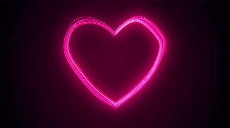 Valentines day festive and luxury neon heart 3D animation. Bright and vibrant glittering streams form a glowing heart shape with glow. Bright red and colorful love and romance holiday background in 4K
