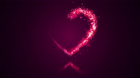 Valentines day festive and luxury heart 3D illustration. Bright and vibrant glittering particles form a glowing heart shape with sequins. Bright pink and colorful love and romance holiday background