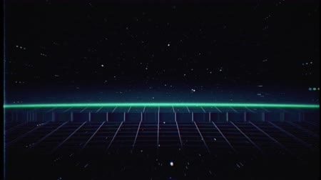 estilizado : Retro futuristic 80s VHS tape video game intro landscape. Flight over the neon red laser beam glowing grid with sunrise and stars with glitches. Arcade vintage stylized sci-fi VJ motion 3D animation