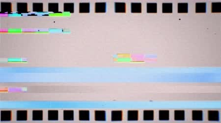 Vintage VHS negative film strip seamless loop. Old reel overlay with dirt, defects, noise, scratches, camera roll burns, grain and dust. Set TV tape glitch effect looping 3D render on white background Dostupné videozáznamy