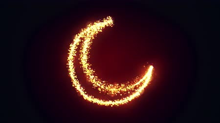 Shining gold particles creating a crescent moon shape. Bright festive ramadan 3D animation with hilal symbol from glitter and sparkles on black background. 4K Holiday effect with bokeh and glow.