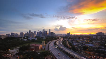 sunset city : Time Lapse of Kuala Lumpur city view during sunset