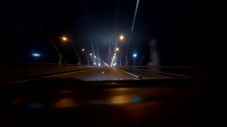 high speed road :  Driving at high speed through the bridge. Stock Footage