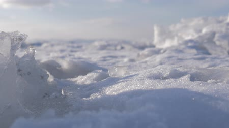 Dirty ice chunk in frozen sea. Dolly shot.