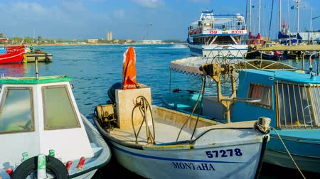 akko : The time-lapse of the moored boats rocking on the waves in the harbor of Akko and the pleasant ships on the background Stock Footage