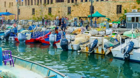 akko : The time-lapse of busy harbor during day off in Akko