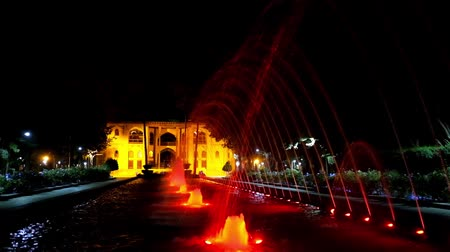 ispahan : The colored fountains in garden of Hasht Behest palace, medieval landmark of Safavid era in Isfahan, Iran.