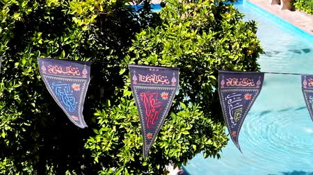 caravanserai : The small flags with religious inscriptions decorate the garden of Saraye Moshir Bazaar during Shia Festival of Ashura (commemorates the killing of Imam Hussein), Shiraz, Iran. Stock Footage