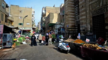 khalili : CAIRO, EGYPT - DECEMBER 21, 2017: The walk along the busy crowded street of Khan El Khalili Bazaar with stalls, offering fresh fruits and vegetables, Islamic Cairo district, on December 21 in Cairo. Stock Footage