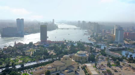 nil : Gezira Island, surrounded by Nile river, s is seen from the top of Cairo Tower, Cairo, Egypt.