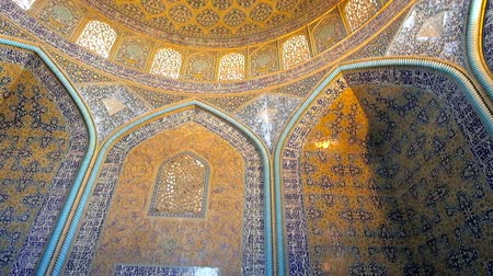 ispahan : ISFAHAN, IRAN - OCTOBER 21, 2017: The picturesque tiled patterns in prayer hall of Sheikh Lotfollah mosque - the outstanding architectural landmark of Naqsh-e Jahan Square, on October 21 in Isfahan.