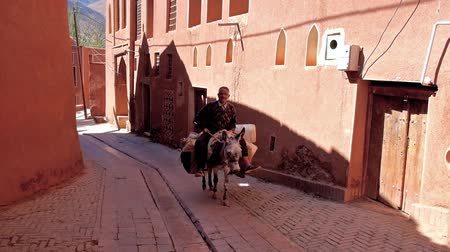ispahan : ABYANEH, IRAN - OCTOBER 23, 2017: The senior farmer rides the donkey along the narrow street with red clay houses of traditional mountain village, on October 23 in Abyaneh
