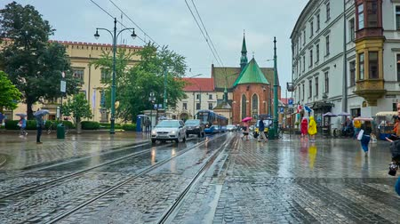 kamienice : KRAKOW, POLAND - JUNE 13, 2018: The trams ride along the rainy All Saints Square with a view on Church of St. Francis of Assisi on background, on June 13 in Krakow. Stock Footage