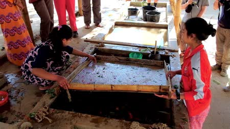 dut : PINDAYA, MYANMAR - FEBRUARY 19, 2018:  The workers produce traditional Shan paper, they pull out the frame with raw paper dough with leafs and flowers from the water tank, on February 19 in Pindaya.