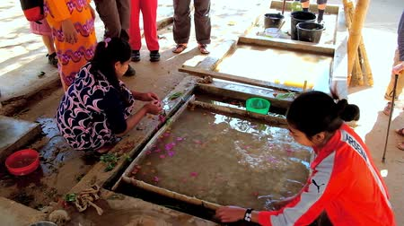 dut : PINDAYA, MYANMAR - FEBRUARY 19, 2018:  The artisans of paper workshop fills the paper dough in water tank with leafs and flowers to create the pattern for future Shan Paper, on February 19 in Pindaya.