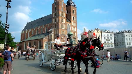 sukiennice : KRAKOW, POLAND - JUNE 11, 2018: Plac Mariacki (Main Market Square) with riding horse-drawn carriages, walking tourists, crowded outdoor cafes and St Mary Basilica on background, on June 11 in Krakow. Stock Footage