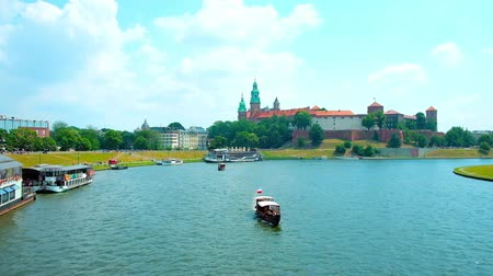 wawel : Embankments of Vistula River is the best place to have a rest in one of a numerous floating restaurants, watching the Wawel Castle and enjoy the nature, Krakow, Poland.