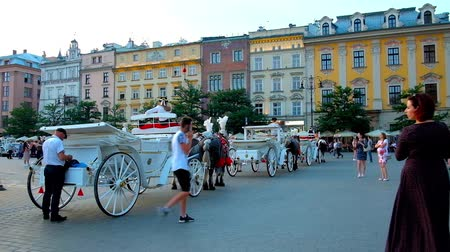 kamienice : KRAKOW, POLAND - JUNE 11, 2018: The line of horse-drawn carriages in Plac Mariacki (Main or Market Square) with a view on medievak townhouses and cafes on the background, on June 11 in Krakow.