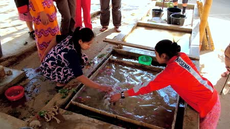 dut : PINDAYA, MYANMAR - FEBRUARY 19, 2018: Production of traditional Shan paper - artisans use the water tank to mix paper dough with flower petals and leafs, on February 19 in Pindaya.