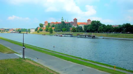 wawel : Medieval Wawel Castle is located on the bank of Vistula River and surrounded by the lush greenery of the city park, Krakow, Poland.