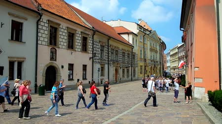 wawel : KRAKOW, POLAND - JUNE 11, 2018: Kanonicza street is lined with beautiful historical mansions and palaces, decorated with murals and reliefs and serving as city museums, on June 11 in Krakow.