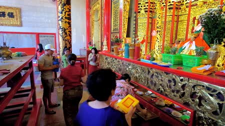 mianmar : YANGON, MYANMAR - FEBRUARY 17, 2018: The altar of Kheng Hock Keong Temple, dedicated to Chinese Sea Goddess Mazu and located in Chinatown, on February 17 in Yangon.