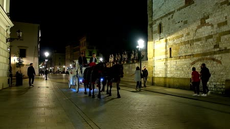 kamienice : KRAKOW, POLAND - JUNE 12, 2018: Tourists enjoy the evening ride on horse-drown carriage along the Grodzka street with subdued lighting of its historic churches and mansions, on June 12 in Krakow.