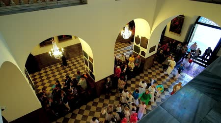crypt : CZESTOCHOWA, POLAND - JUNE 12, 2018: The view from the upper balcony: people enter the Chapel of Black Madonna of Jasna Gora Monastery and walk along the hall to the altar, on June 12 in Czestochowa. Stock Footage