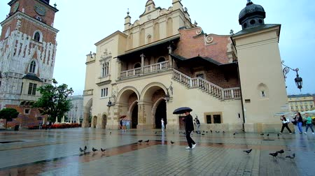 kamienice : KRAKOW, POLAND - JUNE 13, 2018: The rainy city center with flock of pigeons on wet floor in front of the Cloth Hall, on June 13 in Krakow.
