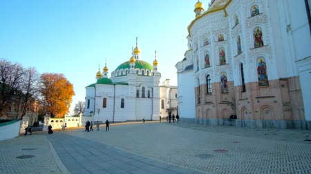 kiev : KIEV, UKRAINE - OCTOBER 19, 2018: The apse of Dormition Cathedral and Refectory Church with huge green dome on territory of Kiev Pechersk Lavra monastery, on October 19 in Kiev.
