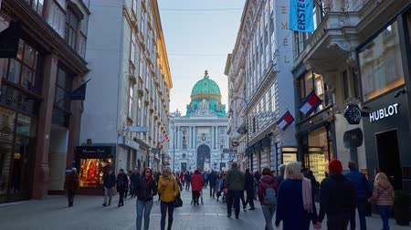 barocco : VIENNA, AUSTRIA - FEBRUARY 17, 2019: Walk along the Kohlmarkt, one of the central shopping areas of the city, leading to St Michael Square (Michaelerplatz) and Hofburg Palace, on February 17 in Vienna