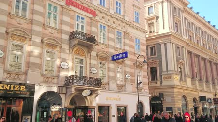 kolumny : VIENNA, AUSTRIA - FEBRUARY 17, 2019: Panorama of the Graben street with its old mansions, palaces, masterpiece carved Holy Trinity (Plague) Column and ornate fountains, on February 17 in Vienna.