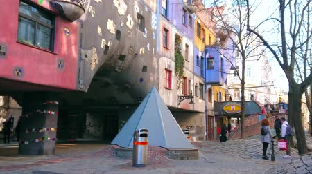 binnenhof : VIENNA, AUSTRIA - FEBRUARY 19, 2019: Kegelgasse street boasts one of the most unusual city landmarks - the Hundertwasserhaus, its expressionist architectural project, on February 19 in Vienna.