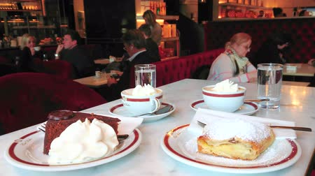 viennese : VIENNA, AUSTRIA - FEBRUARY 19, 2019: Sacher cafe offers traditional Viennese desserts - sacher cake and apple strudel with cream and Wiener melange coffee, on February 19 in Vienna.