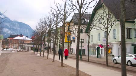 набережная : BAD ISCHL, AUSTRIA - FEBRUARY 20, 2019: The line of young trees in small park, neighboring with old townhouses and stretching along the Esplanade embankment of Traun river, on February 20 in Bad Ischl
