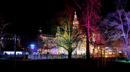 rathauspark : VIENNA, AUSTRIA - FEBRUARY 18, 2019: The view on illuminated Rathaus (Town Hall) and ice skating rink through the trees of Rathauspark in colorful evening lights, on February 18 in Vienna.