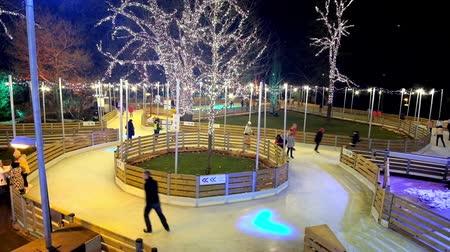rathauspark : VIENNA, AUSTRIA - FEBRUARY 18, 2019: The evening alleys of ice skating rink in Rathauspark are illuminated with scenic lanterns and garlands, decorating the trees, on February 18 in Vienna.
