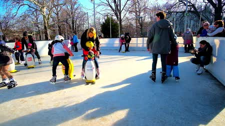 denemek : VIENNA, AUSTRIA - FEBRUARY 17, 2019: The youngest skaters try to learn how to stay on ice, using ice skating penguin aids, on February 17 in Vienna. Stok Video