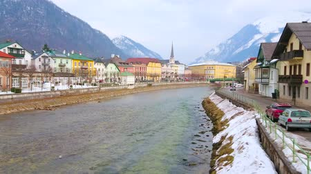 townhouse : BAD ISCHL, AUSTRIA - FEBRUARY 20, 2019: The old town stretches along the both banks of Traun river and boasts many colorful townhouses and ornate villas, on February 20 in Bad Ischl.