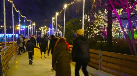 rathauspark : VIENNA, AUSTRIA - FEBRUARY 18, 2019: Enjoy the evening sliding in ice skating rink, occupying the alleys of winter Rathauspark, on February 18 in Vienna. Stock Footage